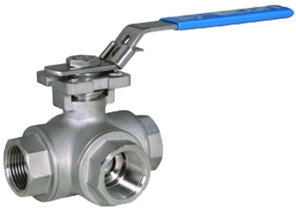 Banjo Electric 3 Way Directional Ball Valve: Econ 7760L Threaded, 3-way Stainless Steel Ball Valves
